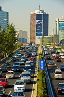 Beijing, CHINA- Highway Street Scene, 3rd RIng Road, Dongsanhuan Beilu, Chaoyang Area Looking North