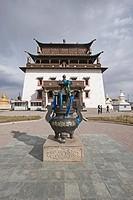 Sacred urn in front of Buddhist monastery, Gandan Monastery, Ulan Bator, Mongolia, september
