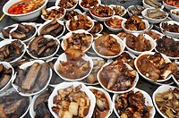 Shanghai (China): meat dishes at a market by the Yuyuan Bazaar, in the Old Town
