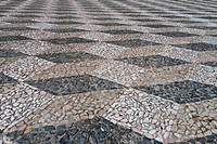 Close_up of patterned cobbled surface in town square, Elvas, Portalegre District, Alentejo, Portugal, april