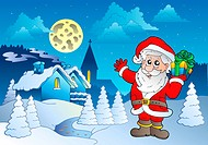 Santa Claus near small village 1 _ color illustration.