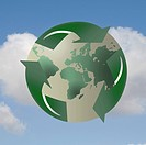 Recycling symbol enveloping planet earth