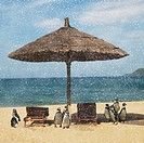 Snow falling on penguins on tropical beach
