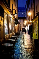 Moliére passage in winter at night, Paris, France
