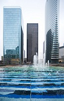 EDF tower and fountain by Yaakov Agam, La Defense business district, Paris, France