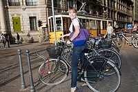 cycling girl in milan