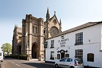 exterior of The cathedral Church of Our Lady and St Philip Howard Arundel and St Mary´s Gate Inn