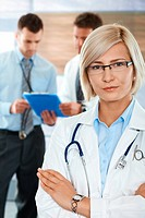 Doctors on hospital corridor