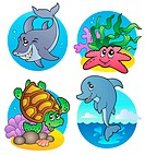 Various sea animals and fishes _ color illustration.