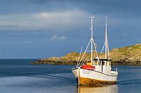 Fishing boat returns to harbor, Stamsund, Lofoten islands, Norway