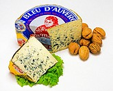 'Bleu d'Auvergne' French blue cheese wedges with walnuts