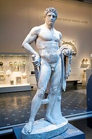 Statue of Hercules, greek myth hero located inside the Metropolitan Museum in New York City