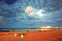 Fireworks in the evening sky, Daytona Beach, Florida, USA