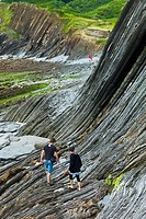 Flysch, Sakoneta beach, Deva, Gipuzkoa, The Basque Country, The Bay of Byscay, Spain, Europe.