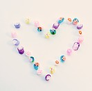 Rock candies arranged in heart shape