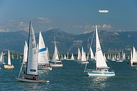 Germany, Lake Constance, People sailing in boat