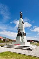 South Atlantic, United Kingdom, British Overseas Territories, East Falkland, Falkland Islands, Falklands, Port Stanley, Stanley, View of 1914 battle m...