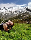 face of young woman in the sun, sun bath, recreation, health, Swiss Alps, Switzerland