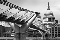 The Millennium Bridge and St Pauls Cathedral, London, England