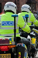 police motorbikes, seen in Stratford upon Avon, UK, at the visit of the Prime minister of China  2011
