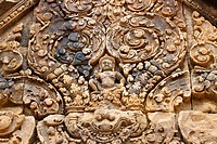 Banteay Srei or Banteay Srey, is a 10th century Cambodian temple dedicated to the Hindu god Shiva, near Angkor, UNESCO World Heritage Site, Siem Reap,...