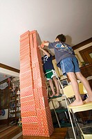 Children building a tower with blocks  St Paul Minnesota MN USA