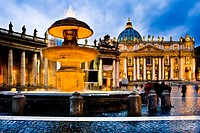 Saint Peter's Square and Saint Peter's Basilica at sunset  Vatican City, Rome