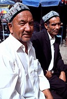 Men at Sunday market of Kashgar, Xinjiang