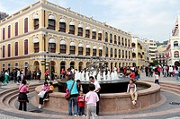 Street scene in downtown Macau showing colonial Portuguese architecture, Macau, China