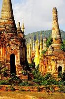 Burma, Myanmar, Shan state, Inle Lake, Inthein or Indein, paya Shwe Inn Thein, group of stupas dated 17 to 18 th century