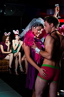 Young women on hen night with male stripper (thumbnail)