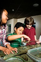 Three friends at aquarium, boy holding crab