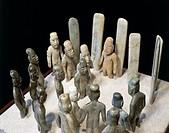 Olmec civilization, Mexico, 9th-4th century b.C. Ceremony of offerings, figures and stele in jade. From La Venta  Mexico City, Museo Nacional De Antro...