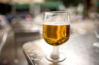 An alcohol-free beer glass sit in a table of a restaurant in Cordoba, Andalusia, Spain, april 18, 2011