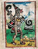 Manuscript, Mexico, 16th century. Diego Duran (1537-1588), The History of the Indies of New Spain, 1579. Aztec god Camastle. Miniature.  Madrid, Bibli...
