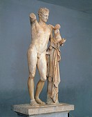 Greek civilization, 4th century b.C. Parian marble statue of Hermes holding infant Dionysus in his arms, by Praxiteles (active between 375-326 b.C.), ...