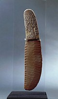 Egyptian civilization, Predynastic Period, Naqada II Period. Gebel el-Arak knife, with flint blade and ivory handle carved with scene of battle betwee...