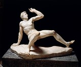 Greek civilization, 3rd century b.C. Marble statue of falling Gaul. Roman copy of a Pergamon school original, part of the Stoa built by Attalus II on ...