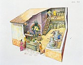 Ancient Rome. Italy - Campania Region. Ercolano. Reconstructed bakery. Color illustration