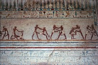 Egypt - Necropolis of Beni Hasan. Tomb of Amenemhat. Detail: mural painting depicting wrestling scenes.