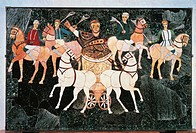 Roman civilization, 4th century A.D. Opus sectile panel depicting consul in his chariot among circus faction, 330-350 A.D. Marble, pietre dure, vitreo...