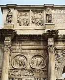 Italy - Latium region - Rome - Imperial Fora. Arch of Constantine, 315 A.D. Detail: relief of the attic of Marcus Aurelius Age between two statues, me...