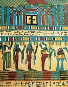 Egyptian civilization, Late Period, Dynasty XXVI. Sarcophagus of Usai. Panel detail with the judgement chamber and god Osiris followed by divinities. ...