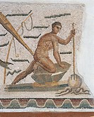Roman civilization, 3rd century A.D. Detail of mosaic depicting octopus fishing. From Dougga (Thugga), Tunisia.  Tunis, Musée National Du Bardo (Archa...
