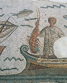 Roman civilization, 3rd century A.D. Mosaic depicting Ulysses and the Sirens' island, 260 A.D, From Thugga (Dougga, Tunisia). Detail: lobster fishing....