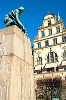Statue and buildings in Gamla Stan - the Old Town - Stockholm, Sweden