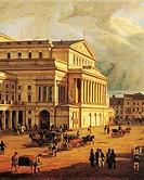 Poland - Warsaw - 19th century. Theatre Square.  Warsaw, Muzeum Historyczne Miasta Warszawy (History Museum)