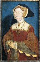 Hans Holbein the Younger (ca. 1497-1543), Portrait of Jane Seymour (ca. 1509-1537), Third Wife of Henry VIII of England.  Vienna, Kunsthistorisches Mu...