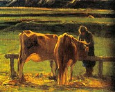 Giovanni Segantini (1858-1899), Alla Stanga (At the Bar), 1886, oil on canvas, 170x389 cm. Detail.  Rome, Galleria Nazionale D'Arte Moderna (National ...