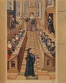 France - 16th century. Session of Doctors at the Paris University. Miniature from Chants Royaux.  Paris, Bibliothèque Des Arts Decoratifs (Library)